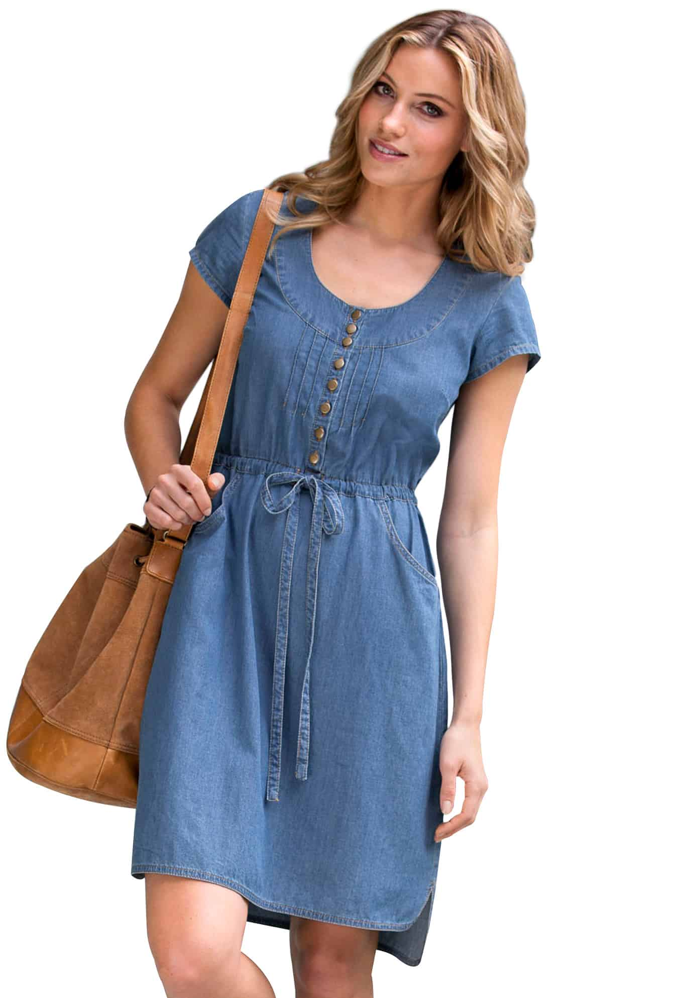 Denim maxi dress plus size long